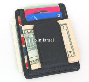 Wholesale Men s money clip black genuine leather front pocket clamp for money magnet magic clip wallet with card ID Case