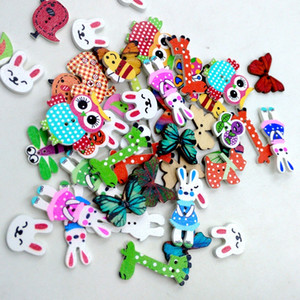Wholesale Rabbit Butterfly Owl Giraffe and other Variety of cute animals buttons double hole button wooden mixed packing