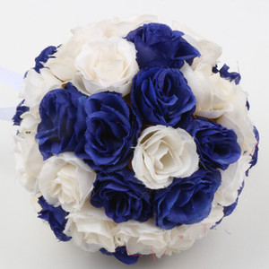 Wholesale New MIC 5inches 8inches Royal Blue Ivory Silk Rose Kissing Balls Flower Girl Ball Wedding Bouquet