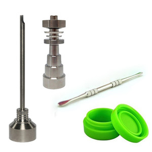 Wholesale 10mm mm mm Adjustable Titanium Nail Tool Set Glass Bong Domeless GR2 Titanium Nail with Carb Cap Dabber Tool Slicone Jar Dab Container