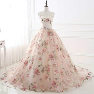 Wholesale Exquisite Floral Pink Long Party Dresses Embroidered 2018 Sheer Flower Ball Gowns Prom Dress Evening Formal Dress Robe De Soiree