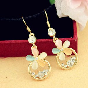Wholesale 2014 New Style Fashion Hot Selling Exclusive Pretty Multicolour Flower Pendant Earrings for Elegant Lady