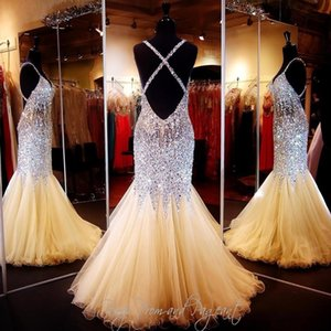 2016 Cheap Bling Sexy Evening Dresses Wear V Neck Crystal Major Beading Illusion Mermaid Long Criss Cross Formal Vestidos Prom Party Gowns on Sale