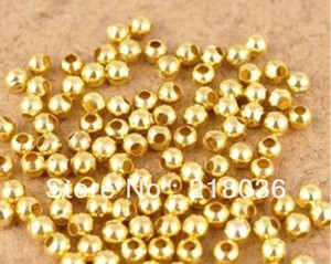 5mm Round Gold Plated Alloy Spacer Charms Finding Loose Bail Beads For Bracelets Necklace DIY Jewelry Findings Accessories N365 on Sale