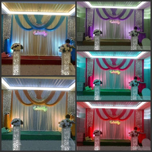Wholesale draping curtains for sale - Group buy 20ft ft Luxury ice silk Wedding Backdrop Stage Curtains with swags Silver Sequin Fabric Wedding Props Satin Drape curtain party decoration