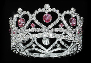 Wholesale Flower Girl Baby Heart Crystal Full Circle Round Pink Mini Crown Tiara CT1777