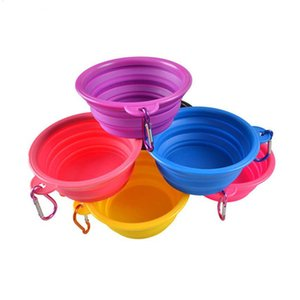 Wholesale New Collapsible silicone dog bowl outdoor travel portable puppy kitten food feeder foldable drinking pet bowls dish with hook