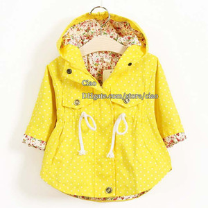 Wholesale Kids Trench Coats Korean Girls Coats Children Trench Coat Girl Dress Kids Hoodies Children Clothes Kids Clothing Fashion Flower Autumn Coat