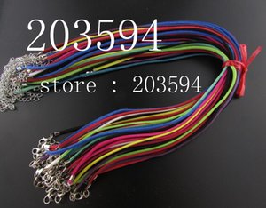 Wholesale 100pcs mm Multicolor Flat Faux Velvet Leather Suede Cord Adjustable Suede Leather Necklace Cord With Lobster Clasp