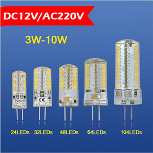 Wholesale 1PC Brightness W W W W W W W DC V AC V LED Crystal lamp bulb High End Silicone G4 SMD Spot light Chandelier