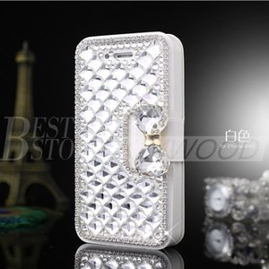 Wholesale For Iphone plus Samsung Galaxy S6 Note Luxury Fashion Diamond Cell Phone Case Cover with Bling Pearl Credit Card Holder