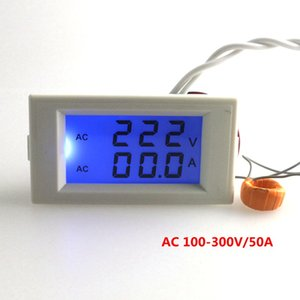 Digital AC Voltmeter Ammeter 100-300V 50A Voltage Current Ampere Panel Meter Blue LCD Backlight CT Coil White Drop Shipping on Sale