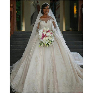 Lace Ball Gown Wedding Dresses Chapel Train Sheer Neck Long Sleeve Vestido De Noiva Bridal Gowns