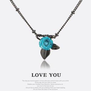 Wholesale New Fashion Silver Plated Black Gun Plated Blue Rose Flower Necklace Earrings Ring for Girls Women Romantic Valentine s Day Gifts NL