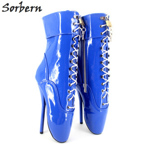 "2017 Blue Patent Leather New Ballet Ankle Boots 7"" Spike High Heel Black Shiny Ballet Shoes With Lace Sexy Fetish Shoes Women Ballet"