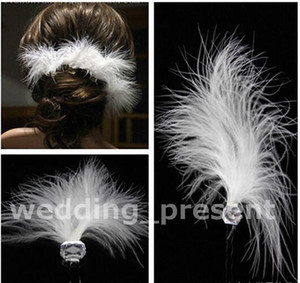 Wholesale cheap bridal wedding hair accessories white feather hair U hairpin crystal ornaments