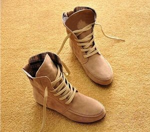 2016 New Women Flat Ankle Snow Motorcycle Boots Female Suede Leather Lace-Up Boot 8 Colors Plus Big Size 35-42 XWX108
