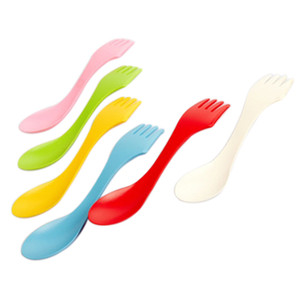 Wholesale Wholesale-2015 New 6Pcs Spoon Fork Knife Cutlery Camping Hiking Spork Combo Travel Utensils Gadget