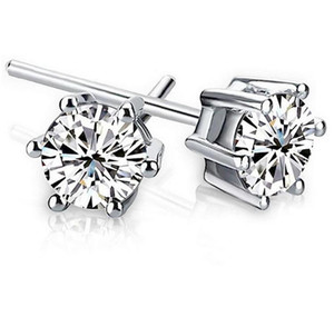 Noble 925 Sterling silver Shining Diamond Crown Stud earrings Fashionable Sweden Jewelry beautiful wedding   engagement gift free shipping