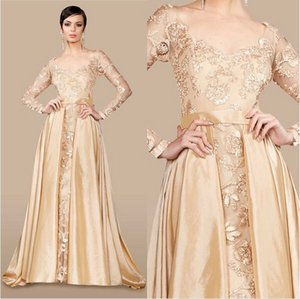 Gold Lace Embroidery Stain Long Sleeve Prom Dresses 2018 MNM Couture Sheer Neck Elegant Dubai Arabic Evening Formal Dress Cheap on Sale