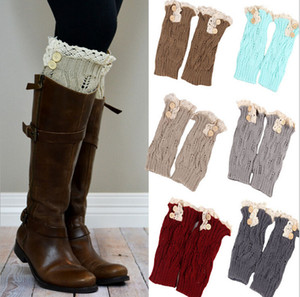 Wholesale Button Down short leg warmers boot cuffs knit lace shark tank leg warmers boot cuffs boot toppers for women winter warm