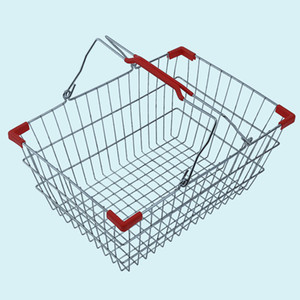 Wholesale New shopping baskets for supermarket ,chrome coated bastket for bar Wire Mesh Basket With Metal Handles N.W.:0.63kg