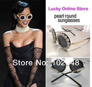 Wholesale Latest Designer Overstate Big Pearl round Sunglasses Handmade Brand Design glasses for Women Ladies pu box clean cloth