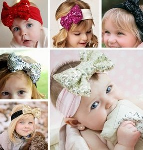 Wholesale New Chidren Girls Blink Sequins Bow Solid Headband Baby Kids Cute Paillette Multi Colors Toddler Hair Accessories B3988