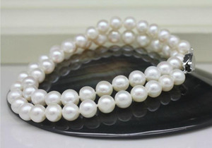 8-9mm White Natural Freshwater Pearl Necklace 18inch 925 Silver Clasp