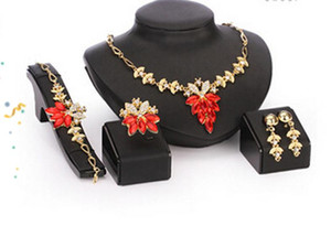 Wholesale Jewelry Set k Gold Filled Austrian Crystal Women Wedding Necklace Bracelet Earring Ring