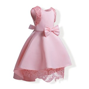 Wholesale Baby Girls Dresses Summer Pink Lace Crochet Dress 2018 Kids Clothing Girls Dress High Low Dress Children Cotton Lining Clothes