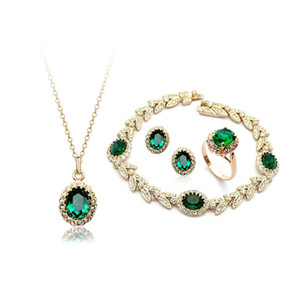 Wholesale Drop Shipping ,Top Quality Emerald necklace+earrings+ring+bracelet 18K gold plated crystal Jewelry sets,Brand jewellry sets wholesales gift