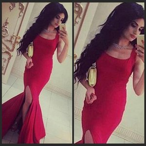 New Meramid Long High Split Evening Dresses Square Neck Dubai African Formal Holiday Wear Party Gown Custom Made Plus Size on Sale