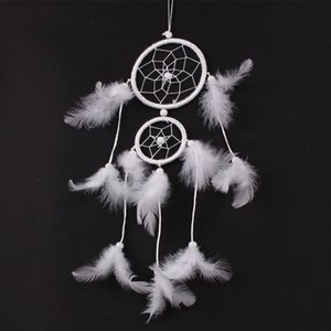 ingrosso b ciondoli-Piuma bianca Dreamcatcher Handmade Dream Catcher Net Per Outdoor Car Wind Chime Pendant Nuovo arrivo wt B