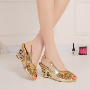 Wholesale kitten heel wedge sandals for sale - Group buy Gold Rhinestones Wedge Wedding Shoes Cut out Sandals For Brides High Heel Slingback cm Chunky Heel Crystals Shoes Women Peep Toe Slip ons