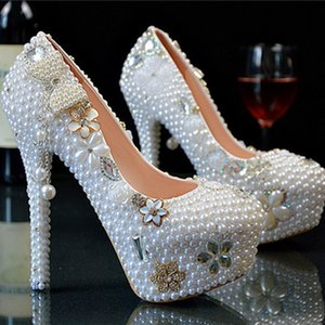 Wholesale New Wedding Ultra high heel Platform Crystals Shoes Aesthetic Crystal Pearl Bridal Shoes Diamond Lady Shoes Wedding Party