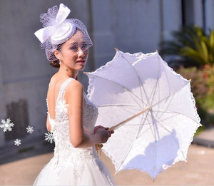 New Wedding Lace Bridal Parasols White Ivory Sun Umbrellas Photography props Beautiful Bridal Accessories High Quality Wedding Favors Best