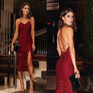 Wholesale 2018 Sexy Burgundy Full Lace Fitted Evening Party Dresses Spaghetti Straps Column Side Split Ladies Formal Wear Cocktail Dress