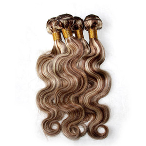 Wholesale Mixed Piano Color Hair Weave Bundles Body Wave Two Tone #8 613 Highlight Brown Blonde Color Virgin Human Hair Extensions