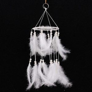 Wholesale Pure White Feather Woven Dream Catcher Circular Net with Fake Pearl Home Decor Dreamcatcher Wall Hanging Living Room Decoration