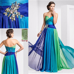 Colorful Chiffon Cheap Long Evening Dresses Multi Color Crystal Pleat Lace Up Sweetheart 2015 Prom Dress vestidos de fiesta