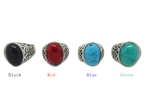 Wholesale 12Pcs Women s Turquoise Stone Rings Gemstone Antique Silver Rings With Four Color Men Vintage Resin Simulated Turquoise Stone