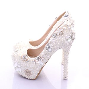 Wholesale Plus Size Bridal Shoes White Womens Shoes on Sale Fashion Luxurious Pearls Crystals Wedding Party Prom High Heel Shoes