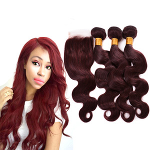 Wholesale mixed baby red hair for sale - Group buy Burgundy Wine Red J Brazilian Virgin Hair Weave Bundles with closure Peruvian Body Wave Baby Human Hair Extension