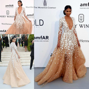 Wholesale 2019 Winter Glamorous V neck Champagne Tulles Pageant Celebrity Dresses with Long Seeves Sexy Deep Lace Appliques Formal Evening Prom Gowns