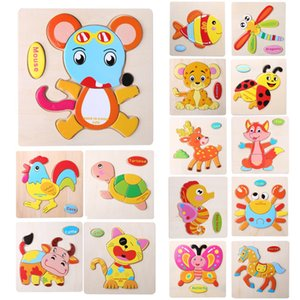 Wholesale Kids Jigsaw Puzzle Cartoon Animals Dimensional Puzzle Force Children Wooden Jigsaw Puzzle Kids Education Learning Toys
