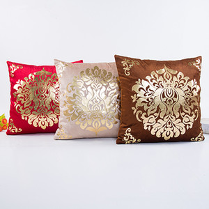 Wholesale Cushion Cover Floral Gold Velvet Luxury Pillow Case for Sofa Bed Vintage Pillow Covers Soft Home Decor 18*18