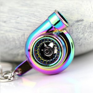 Wholesale 100pcs x Rainbow Color Plating Turbo Keychain Auto Parts Model Spinning Charming Turbocharger Keychain Key Chain Ring Keyring Keyfob