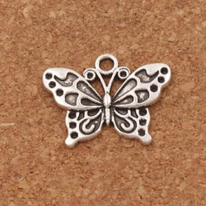 Wholesale White Peacock Anartia Jatrophoe Butterfly Charm Beads x19 mm Antique Silver Pendants Jewelry DIY L1128
