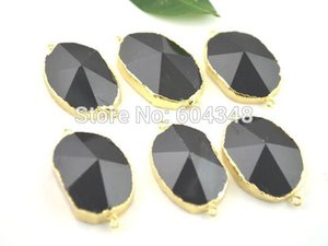 Wholesale 5pcs Nature Druzy Agate Connector Beads Gold Plated Edge Agate Pendant in Black color Drusy Gem Stone Connector Findings